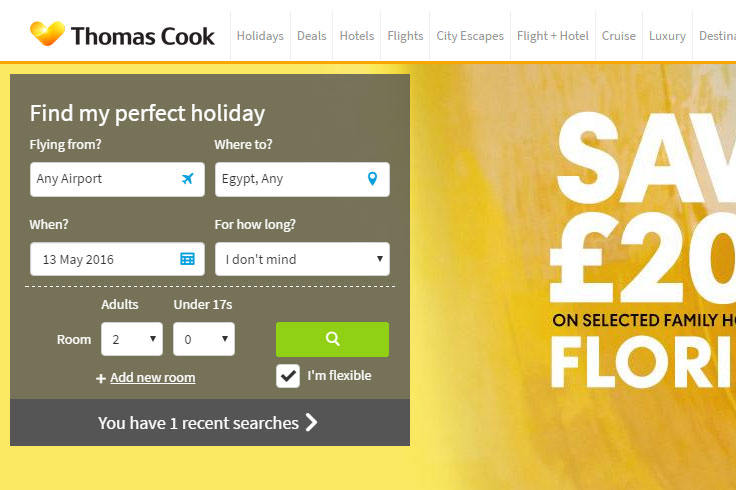 Thomas Cook A/B testing case study. Left hand search panel test on Desktop