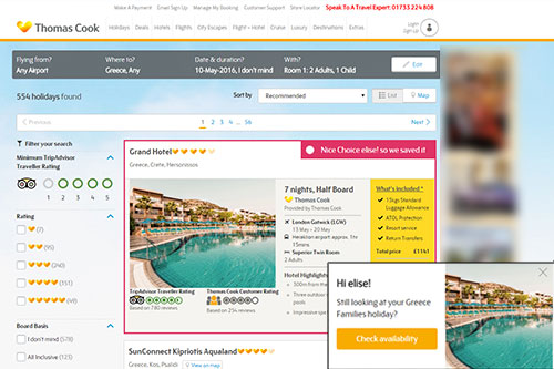 Thomas Cook optimisation case study. Abandoned booker stored previous hotel selection & highlighted for user.