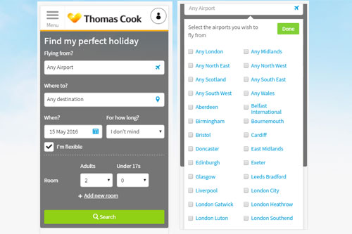 Thomas Cook CRO case study. Search panel optimisation on mobile phone