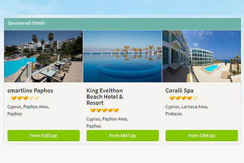 Thomas Cook CRO case study. Sponsored hotel listings on search result page.